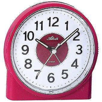 Atlanta 1986/17 clock quartz analog quietly without ticking with pink light
