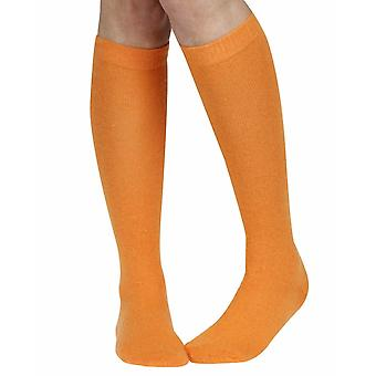 Cashmere blend women's soft warm knee-high sock, orange | Fil de Jour