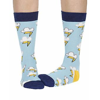 Lightning women's soft bamboo crew socks in sky blue | By Doris & Dude