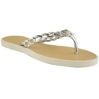 Ladies Flat Slip On Chain Detail Strap Thong Fashion Holiday Smart Sandal Shoes