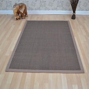 Sisal tapijten In mokka met Taupe rand