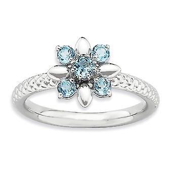 2.5mm 925 Sterling Silver Polished Prong set Rhodium-plated Stackable Expressions Blue Topaz Ring - Ring Size: 5 to 10