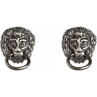 Simon Carter Lion Head Door Knocker Cufflinks - Silver
