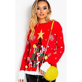 IKRUSH Womens Vixen Overd Slogan Christmas Jumper