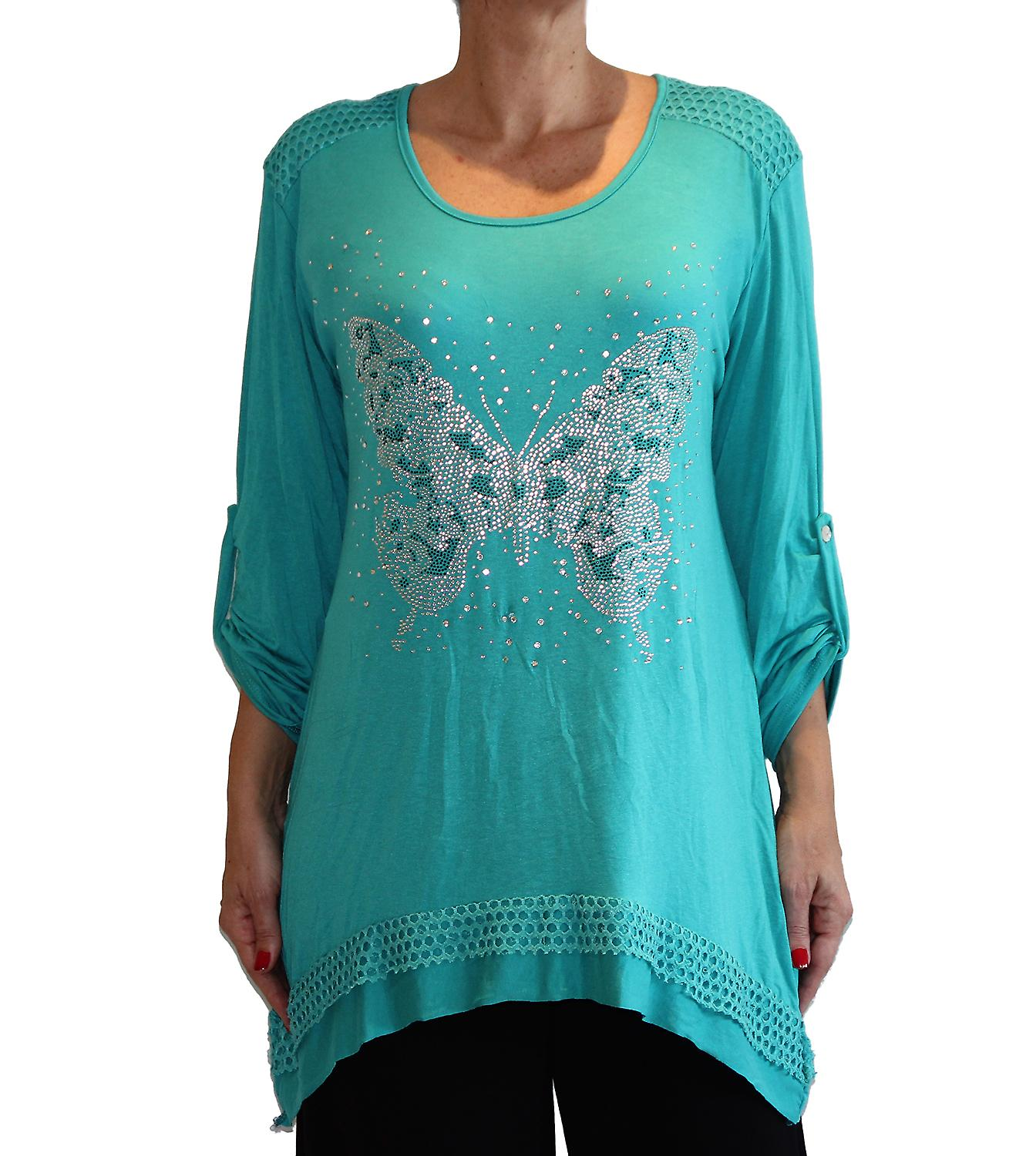 Waooh - Fashion - long-sleeved tunic pattern rhinestone butterfly