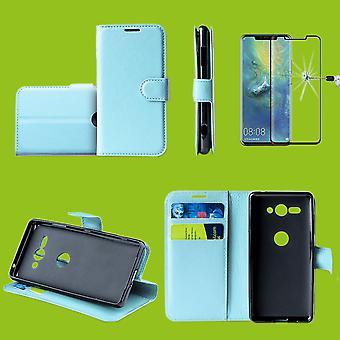 Prima de cartera Huawei P30 bolsillo Blau Schutz bolsa funda de manga + 0,3 mm H9 4 d completo curvado vidrio duro