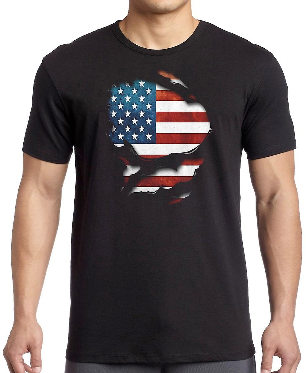 USA American Ripped Effect Under Shirt Women T Shirt