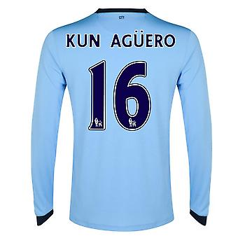 2014-15 Mann Stadt Long Sleeve Home Shirt (Kun Aguero 16)