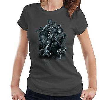 Marvel Black Panther Grayscale Battler Montage Women's T-Shirt
