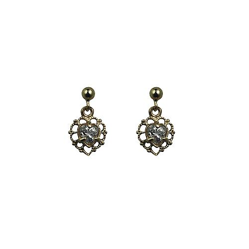9ct Gold 11x7mm filigree heart Dropper Earrings set with Cubic Zirconia