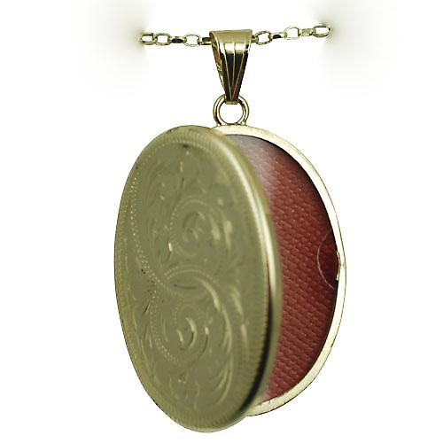 9ct Gold 35x26mm flat oval hand engraved Locket with a belcher chain