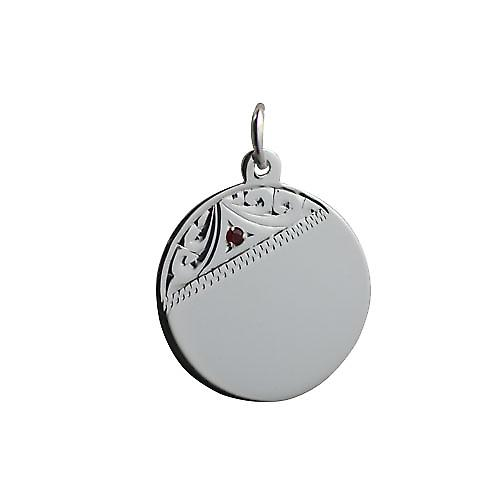 Silver 20mm Hand engraved set with garnet round Disc