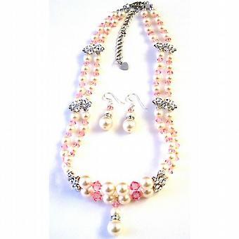 Rosa de Swarovski cristales Rosa Marfil perlas collar trenzado doble conjunto