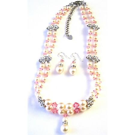 Swarovski Rose Pink Crystals Ivory Pearls Double Stranded Necklace Set