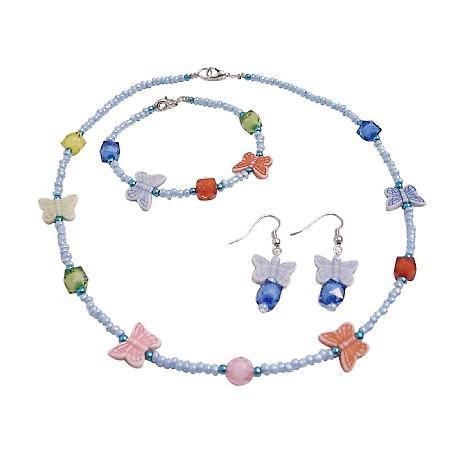 Multicolored Butterfly Stunning Necklace Earrings & Bracelet Jewelry