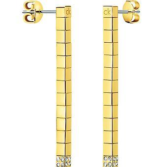 Kj9mje140100 Calvin Klein plateado damas sintonizar aretes de oro