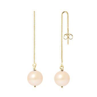 Boucles d'Oreilles Femme Pendantes Perles de Culture Roses et or jaune 750/1000