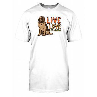 Na żywo miłość St Bernard Mens T Shirt