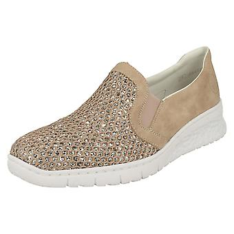 Damen Rieker Glitter detaillierte Slip-on Schuhe 581T4