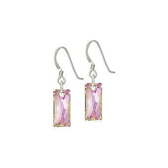 Wieczne kolekcja Lyra różowy Vitrail bagietki Crystal Sterling Silver upuść przebili kolczyki