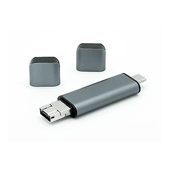Dynamode USB-C tipo-C 3-en-1 lector de tarjetas de personalidad dual gris (C-TC-CR)