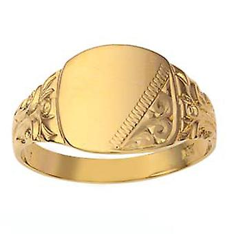 9ct Gold 12x12mm hand engraved cushion gents Signet Ring Size Z
