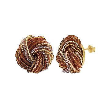 Eternal Collection Sienna Murano Glass Torsade Pierced Earrings