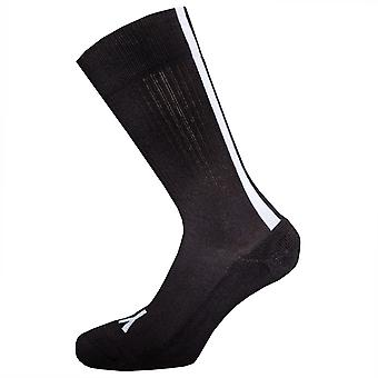 Mens Y-3 Stripe Socks In Black- Ribbed Collar- Engineered Y-3 Logo- 3 Stripe