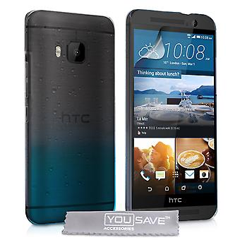 YouSave HTC M9 Raindrop Hard Case - Blue-Clear