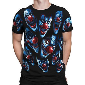 Liquid blue -all over clowns - mens cotton t-shirt