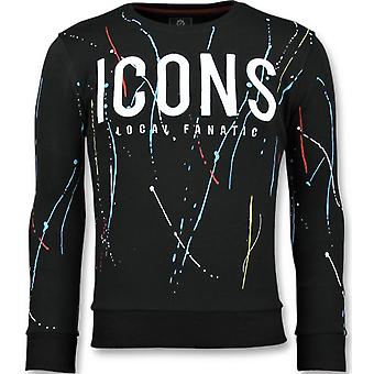 ICONS Painted-Funny Sweatshirt men-6341Z-Black
