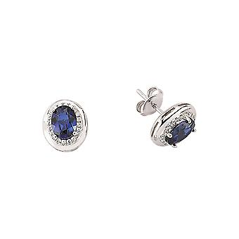 Jewelco London Rhodium Plated Sterling Silver Blue and White Oval and Round Brilliant Cubic Zirconia Halo Stud Earrings