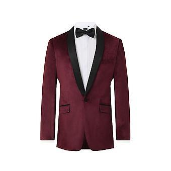 Dobell Mens Burgundy Velvet 2 Pezzo Tuxedo Slim Fit Contrasto Shawl Lapel
