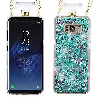 Hearts & Green Quicksand Glitter Diamante Perfume Bottle Protector Cover(w/ Chain) for Galaxy S8 Plus