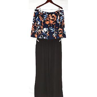 Susan Graver Jumpsuits Liquid Knit with Pockets Floral Black A310118