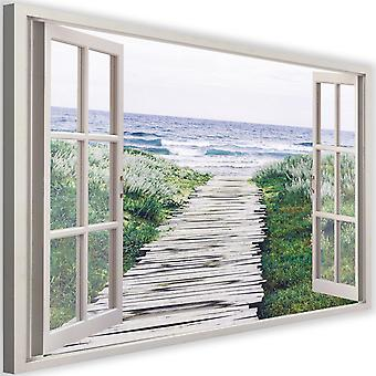 Canvas, Picture on canvas, window, descent to the beach 2