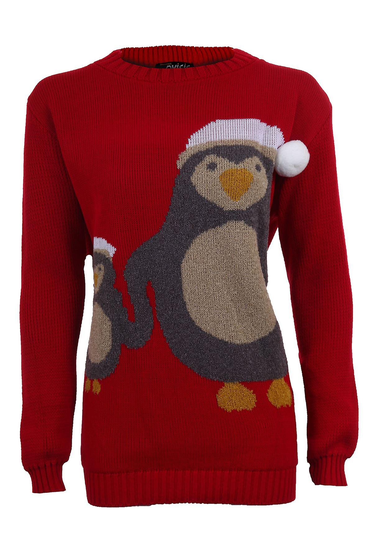 Women's Christmas Pom Pom Mother Baby Penguin Festive Long Sleeve Warm Winter Jumper