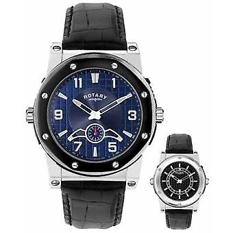 Rotary Mens Reversible Dial Black Leather Strap EGS0007/TZ2/04/05 Watch