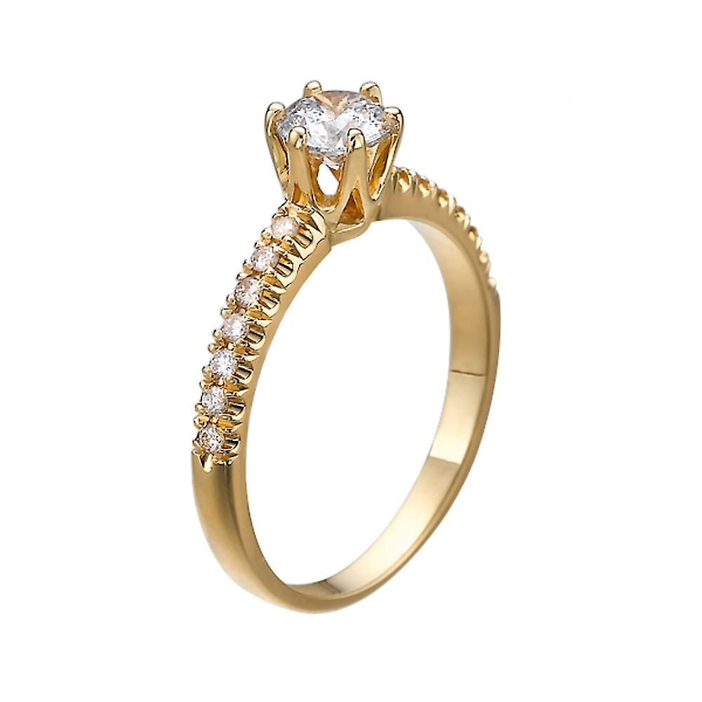 1.34 Carat D SI2 Diamond Engagement Ring 14K Yellow Gold Solitaire w Accents Classic Round