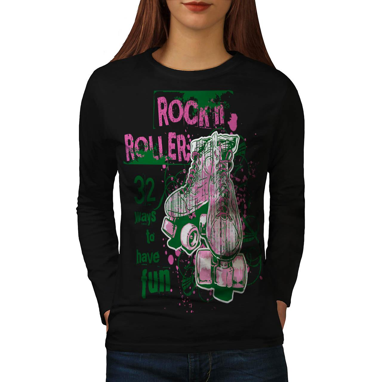 Rock et Rollers patins Fun noir Long Sleeve T-shirt | Wellcoda