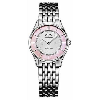 Rotary Ladies Stainless Steel Bracelet Pink Mother Of Pearl Dial LB90800/07 Watch