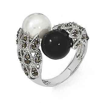 Sterling Silver polerat antik finish Cubic Zirconia svart vita sötvatten odlade Pearl Ring - Ring storlek: 6 till 8