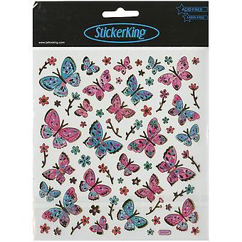 Multicolores papillons autocollants rose & Aqua SK129MC-4297