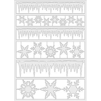 Idea-Ology Adhesive Alpha Parts 19/Pkg-Frozen Clear Icicle Borders & Snowflakes TH93328