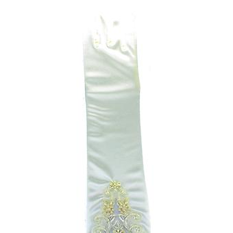 Long Cream Satin Fancy Dress Gloves with Pearl Detail