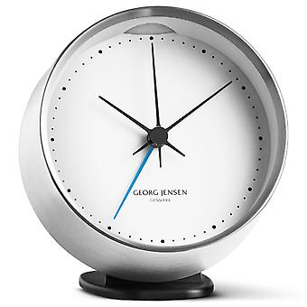 Georg Jensen Henning Koppel alarm clock from stainless steel with White Dial
