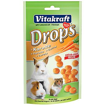 Vitakraft Small Animal Sugar Free Carrot Drops 75g (Pack of 9)