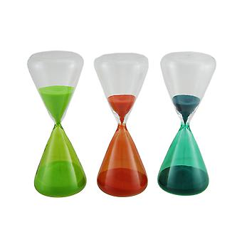 3 Piece Colored Glass & Sand Hourglass Set In Gift Box