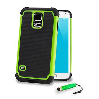 Shock Proof Case + stylus for Samsung Galaxy S5 (SM-G900) - Green