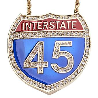 Iced out bling hip hop chain - INTERSTATE 45 gold